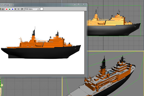 Computer CAD image of ship design