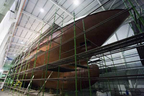 Ship under construction with scaffoldings around it